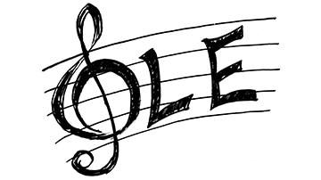 """imagen de la palabra """"ole"""" escrita en una partitura"""