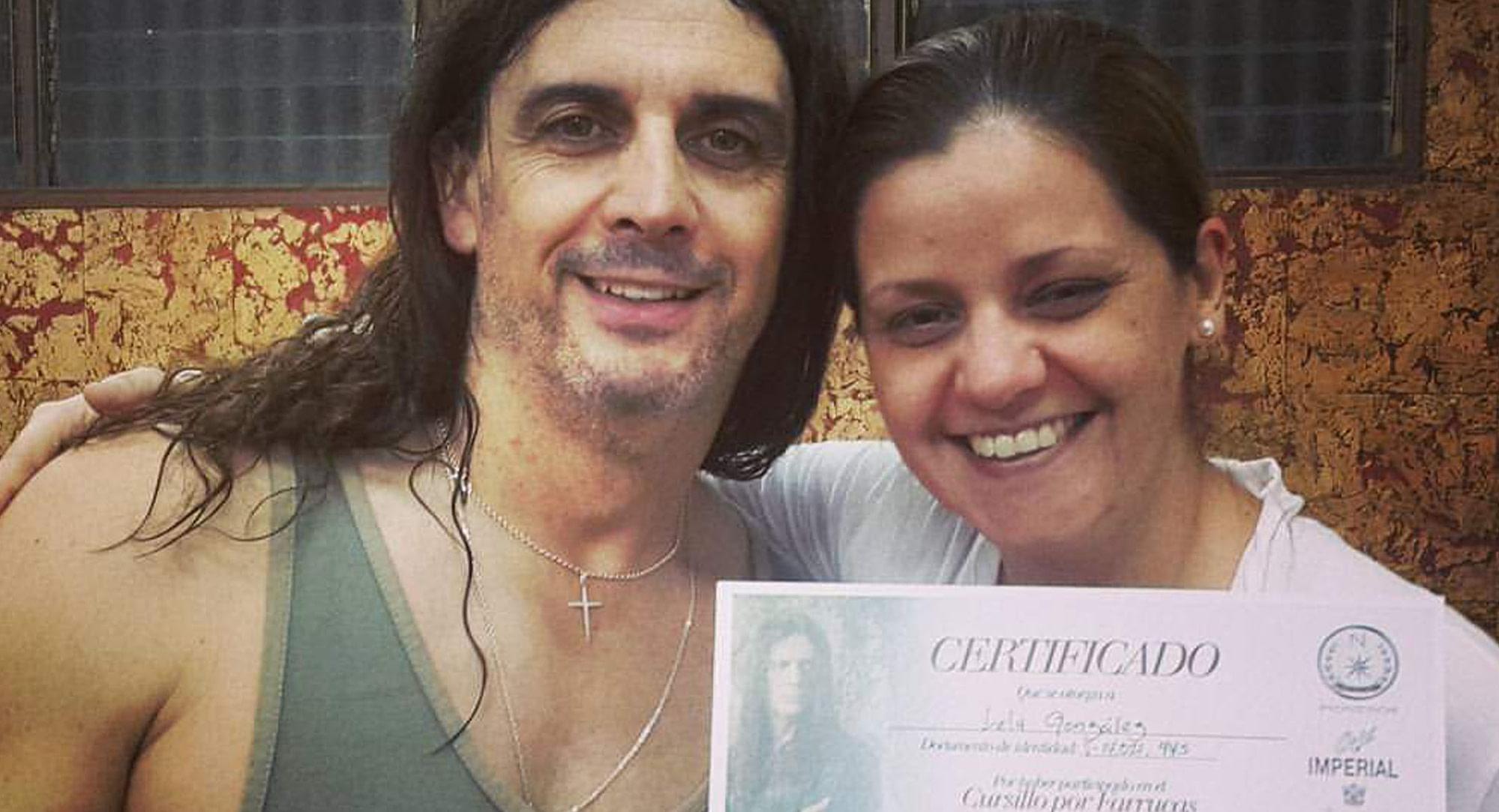 """Una foto de Maria Graciela """"Lela"""" Gonzalez con el maestro Domingo Ortega"""